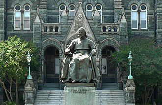 John Carroll (bishop) - Statue of Carroll in front of Healy Hall on the campus of Georgetown University