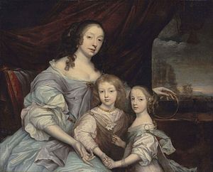 Mary Stewart, Duchess of Richmond - Mary, Duchess of Richmond, with her children, Esmé and Mary, by John Michael Wright.