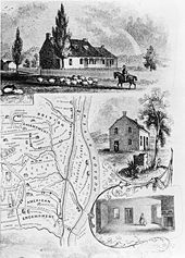Map of the battlefield of the Battle of Saratoga and illustration of John Neilson's house, the headquarters of Generals Benedict Arnold and Enoch Poor
