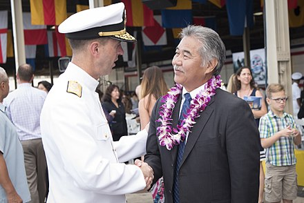 Governor David Ige with U.S. Navy admiral John Richardson at the 75th Commemoration Event of the attacks on Pearl Harbor and Oahu, 2016 John Richardson and David Ige 161207-N-AT895-171 (30656444724).jpg