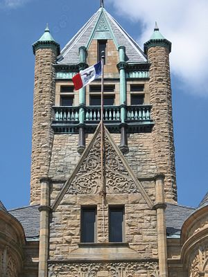 Johnson County Courthouse (Iowa) - detail of courthouse tower.