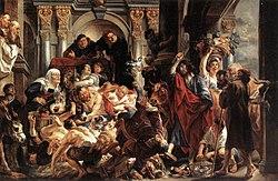 ยาโกบ ยอร์ดานส์: Jesus Driving the Merchants from the Temple