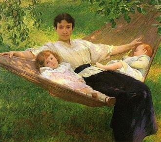Joseph DeCamp - The Hammock (ca. 1895), Terra Foundation for American Art. The artist's wife Edith, daughter Sally, and infant son Ted.