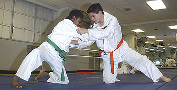 These two judo practitioners are wearing judogi