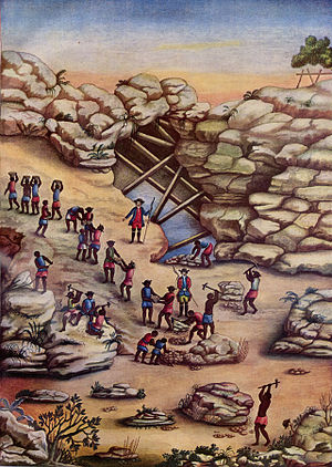 Slavery in Brazil - Slaves mine for diamonds in Minas Gerais (ca. 1770s).