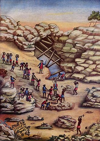 Slavery in Brazil - Slaves mine for diamonds in Minas Gerais (ca. 1770s).