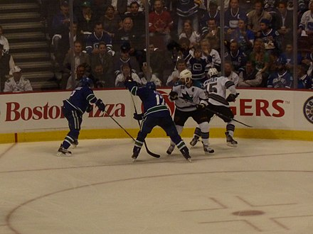 The Sharks faced the Vancouver Canucks during the 2011 Western Conference Finals. The Sharks would lose the series 4-1. Jumbo Joe and Dany Heatley vs Ryan Kesler and Dan Hamhuis (5757641600).jpg