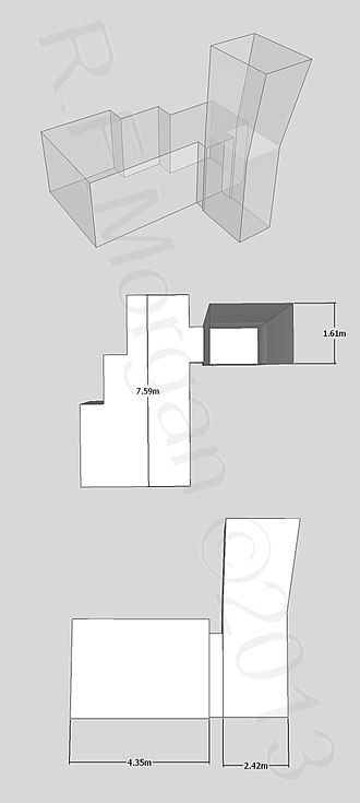KV56 - Isometric, plan and elevation images of KV56 taken from a 3d model