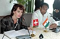 Kamal Nath and the federal Councilor & the Minister of Economic Affairs of Switzerland, Ms. Doris Leuthard are interacting with media at a joint press conference, in New Delhi on April 29, 2008.jpg