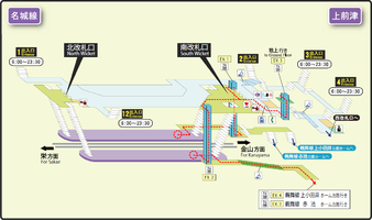Kamimaezu station map Nagoya subway's Meijo line 2014.png