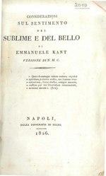 Immanuel Kant: Considerazioni sul sentimento del sublime e del bello di Emmanuele Kant versione di N. M. C.