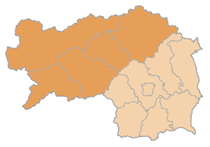 Upper Styria - Obersteiermark districts within the state of Styria