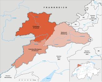 Karte Kanton Jura Bezirke 2010
