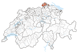 Map of Switzerland, location of Schaffhausen highlighted