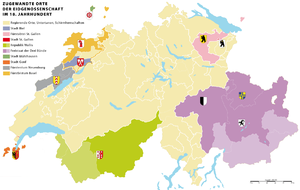 Territorial evolution of Switzerland - Zugewante Orte (Associated States) of the Old Swiss Confederacy in the 18th century