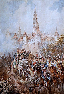Painting by Juliusz Kossak depicting Pulaski at Częstochowa's walls in 1770
