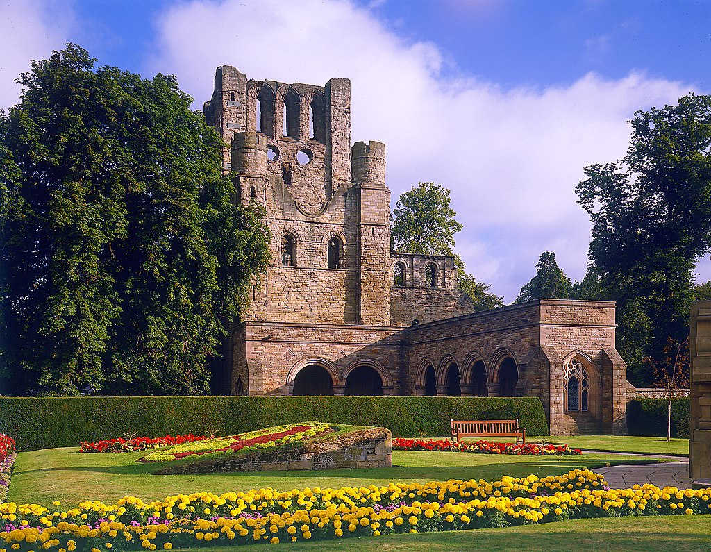 Kelso abbey with flowers