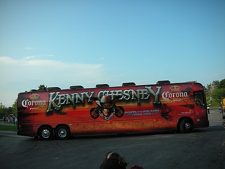 Kenny Chesney's Poets and Pirates tour bus in 2008 Kenny chesney tour bus 2008 (2695199093).jpg