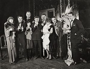 Kick In (1922 film) - Cast during production, from left: Betty Compson, Bert Lytell, Charles Ogle, May McAvoy, Gareth Hughes, Walter Long, Kathleen Clifford, Jed Prouty, Mayme Kelso and Robert Agnew