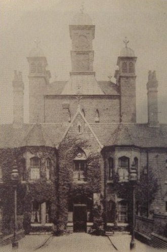 Selly Oak Hospital - Entrance to the King's Norton Union Workhouse at Selly Oak, showing its original decorative cupolas, circa 1910.