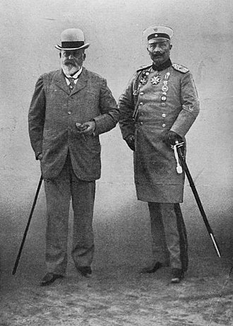 Anglo-German naval arms race - King Edward VII and Kaiser Wilhelm II in Berlin, ca. 1908