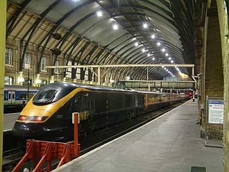 Wrap advertising - This train bears GNER's standard livery rather than an advertisement, but as it was on lease from Eurostar, the livery was applied using vinyl.