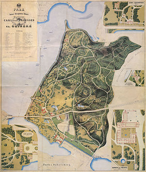 Park Glienicke - Lithographic map of Park Glienicke after last extensions, around 1862