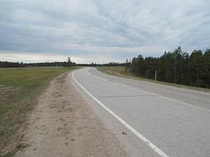 R504 Kolyma Highway - The Kolyma is paved 52 km. from Yakutsk (Nizhny Bestyakh) to Tyungyulyu.