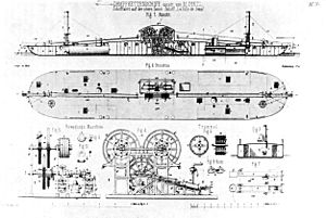 Chain boat - Blueprint of the French chain boat, La Ville de Sens (1850)