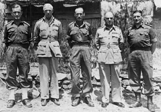 John Wilton (general) - Brigadier Wilton (centre) commanding the 28th Commonwealth Brigade in Korea, flanked by Lieutenant Generals Sir Sydney Rowell (second left) and Henry Wells (second right), in 1953