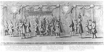 Coronation procession of Friedrich I with the crown on his head and scepter in hand, contemporary painting by Johann Georg Wolfgang (1662–1744)