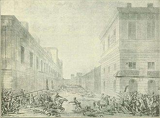 Warsaw Uprising (1794) - Fighting at Miodowa Street on Krakowskie Przedmieście, sketch by Jan Piotr Norblin, 1794