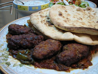 Kebab - Kofta kebab with naan