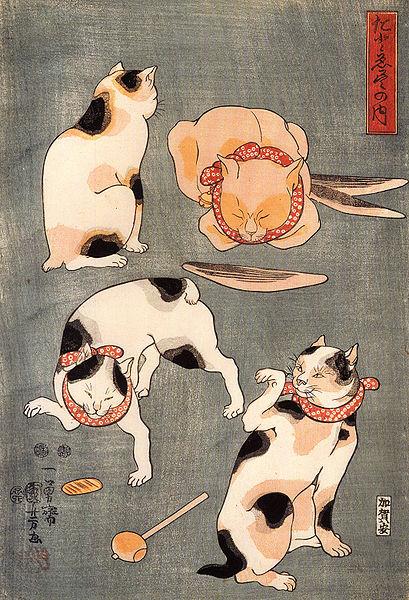 Файл:Kuniyoshi Utagawa, For cats in different poses.jpg