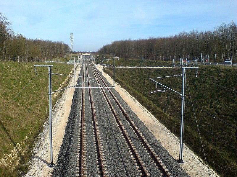 The LGV Est high-speed railway line at track kilometer 217, near the train station Gare Meuse.