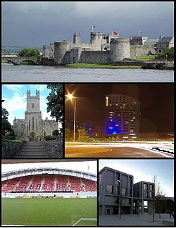 A montage of Limerick. From top, left to right: King John's Castle, St. Mary's Cathedral, The Clayton Hotel, Thomond Park and the School of Medicine at the University of Limerick.