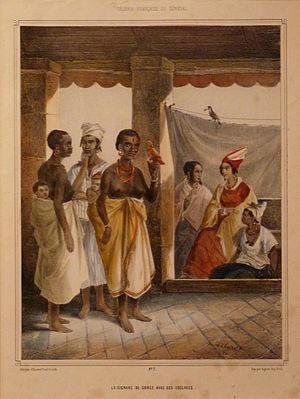 Gorée - La Signare de Gorée avec ses esclaves (The signare of Gorée with her slaves) -Musée de la Compagnie des Indes