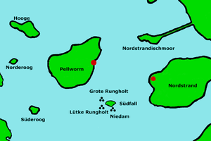 Südfall - Approximate locations of several settlements, including Rungholt, on the former island of Strand near Südfall