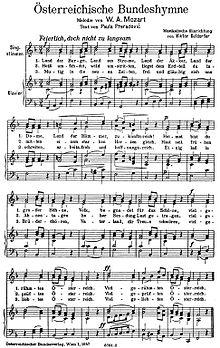 Text- und Notenblatt: Österreichische Bundeshymne, Satz: Viktor Keldorfer (Quelle: Wikimedia)