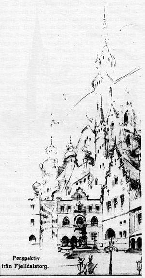 Lars Sonck - Töölö competition drawing, Helsinki, Lars Sonck, 1899.