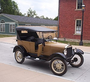 Automotive industry in the United States - Ford Model T, 1927. Created in 1908, regarded as the first affordable American automobile