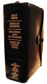 "The Standard Works of The Church of Jesus Christ of Latter-day Saints printed in the Quadruple Combination format, often referred to simply as a ""Quad"""