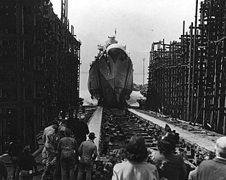 Myra Page - Newly constructed USS Birmingham launches from shipyards (1942) in Newport News, Page's hometown