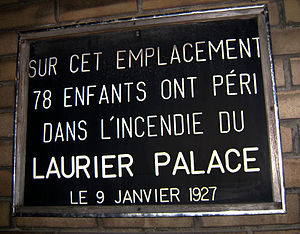Laurier Palace Theatre fire - Plaque dedicated to the victims