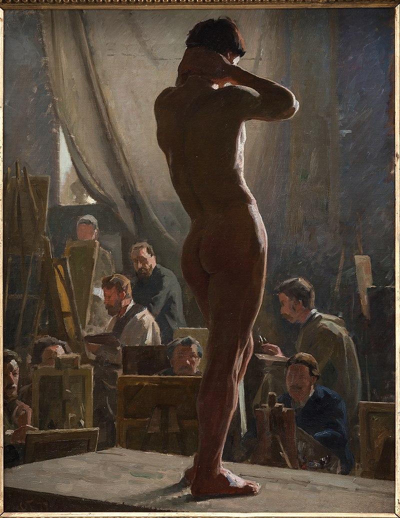Lauris Tuxen, Modelstudie i Bonnats atelier, 1877, KMS8266, Statens Museum for Kunst.jpg