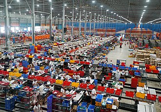 Alibaba Group - Lazada warehouse in Cabuyao, Laguna, Philippines during the company's 11.11 sale promotion in 2018. Lazada Group is a subsidiary of Alibaba Group and Alibaba co-founder Lucy Peng Lei is CEO of the company.