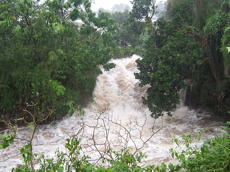 The Ravine blanche in spate during the typhoon Gamede (Le Tampon, Réunion island)