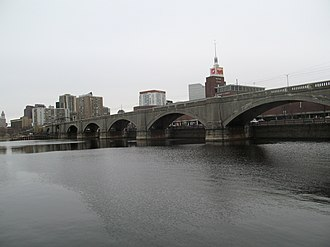 Lechmere Viaduct - Lechmere Viaduct, viewed looking southward from East Cambridge (Charles River Dam is visible through Viaduct arches)