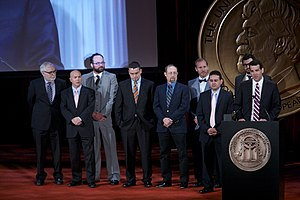 "The Times-Picayune - Lee Zurik accepts the Peabody Award for ""Louisiana Purchased."" He is joined on stage by the WVUE-TV and NOLA.com crew."
