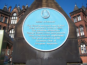 Leeds General Infirmary - Blue plaque on the gatepost